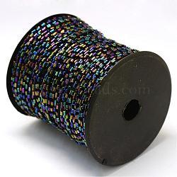 Cordons de perles plaquées de clairon, avec des câblés en polyester, avec des bobines de couleur aléatoire et des cordes en nylon, trou rond, mediumblue, 1.5~3x1.5~2 mm; environ 100 mètres / rouleau(OCOR-R041-K02)