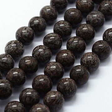 Natural Snowflake Obsidian Beads Strands, Round, 4mm, Hole: 0.6mm; about 95pcs/strand, 14.76 inches(37.5cm)(G-I199-01-4mm)