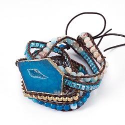 """Bracelets avec cordon de cuir à 5-boucles, perles de verre, agate naturel, druzy agate, shoushan synthétique, résultats d'hématite et d'alliage synthétiques, 37.4""""~38.6"""" (95~98 cm), 7~10 mm; pendentif: 49~56x30~36x4~6 mm(BJEW-I276-01D)"""