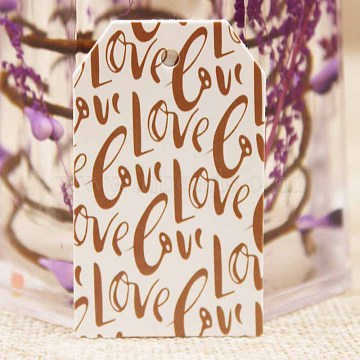 Paper Gift Tags, Hange Tags, For Arts and Crafts, Valentine's Day, Rectangle with Word Love, White, 50x30x0.4mm, Hole: 3mm(CDIS-P001-E07-A)