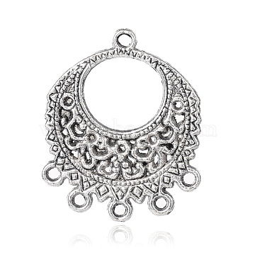 Tibetan Style Alloy Chandelier Links, Flat Round, Antique Silver, 32x27x1.5mm, Hole: 2mm(PALLOY-M167-10AS)