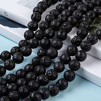 Natural Lava Rock Stone Bead Strands, Round, 8mm, Hole: 1mm, about 50pcs/strand, 15.7 inches