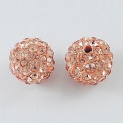 Perles de boule pavé disco , Perles de strass en argile polymère, rond, Light Peach, 10mm, Trou: 2mm(X-RB-S604-4)