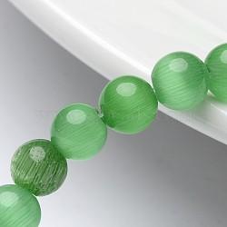 """Perles d'oeil de chat, rond, verte, 6mm, trou: 1 mm; environ 66 pcs / brin, 15.5""""(X-CER07)"""