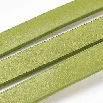 Flat Imitation Leather Cords, Yellow Green, 9.5x2mm; 1m/strand(X-LC-E019-01B)