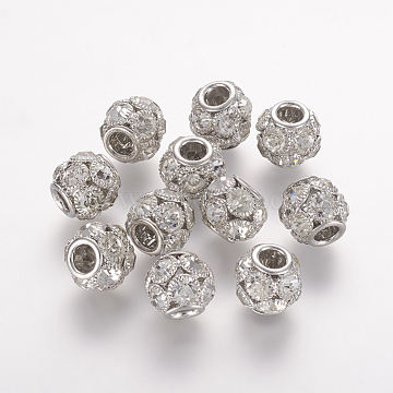 Brass Beads, with Grade A Rhinestone, Rondelle, Platinum, Crystal, 8x8mm, Hole: 2mm(X-RB-K050-8mm-A03)