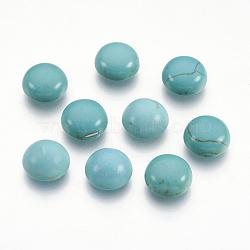 Cabochons dômes dorsaux à dos plat turquoise synthétique, les accessoires de l'artisanat, teint, demi-rond, darkcyan, 10x4mm(X-TURQ-S266-10mm-01)