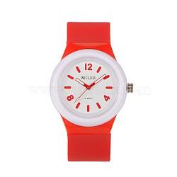 Высококачественные детские 304 из нержавеющей стали силиконовые кварцевые наручные часы, оранжево-красные, 230x25 мм; головка часы: 48x43x13 мм(WACH-N016-08)