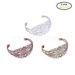 Латунные манжеты браслет материалы, браслет заготовки, с филигранной цветок, разноцветные, 63x6~13 мм, 1 шт / цвет, 3 шт / комплект(KK-PH0034-33-NF)