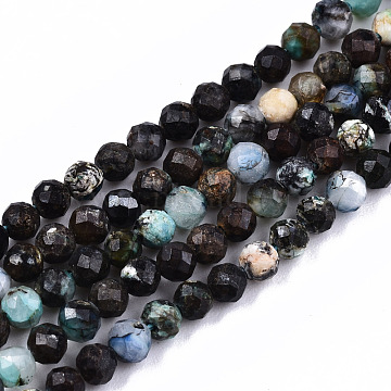 Natural Chrysocolla Beads Strands, Round, Faceted, 3mm, Hole: 0.6mm, about 129~131pcs/strand, 15.35 inches~15.55 inches(39~39.5cm)(G-S362-053)