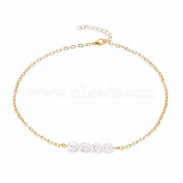 ABS Plastic Imitation Pearl Beaded Necklaces, with Zinc Alloy Lobster Claw Clasps and Aluminium Cable Chains, Golden, 16 inches(40.5cm)(NJEW-JN03179)
