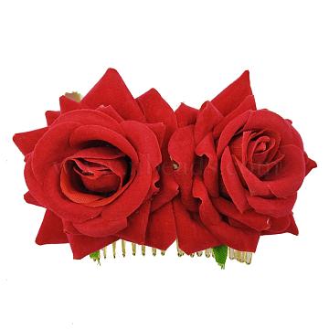 Iron Hair Combs, with Velvet Flower, Red, 90x60mm(OHAR-Q280-01B)