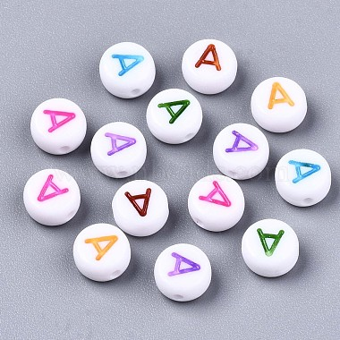 непрозрачные белые акриловые бусины(X-MACR-N012-01A)-1