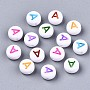 Opaque White Acrylic Beads, Flat Round with Mixed Color Letter, Letter.A, 7x3.5mm, Hole: 1.2mm