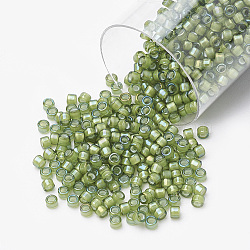 Miyuki® delica beads, perles de rocaille japonais, 11 / 0, (db 1786) blanc doublé vert clair ab, 1x1.5 mm, trou: 0.5 mm; sur 2000 pcs / bouteille(SEED-S015-DB-1786)