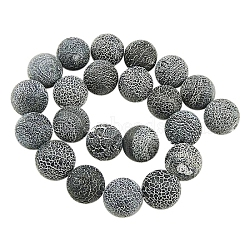 Natural Crackle Agate Beads Strands, Dyed, Round, Grade A, Black, 4mm, Hole: 0.8mm; about 93pcs/strand, 15inches