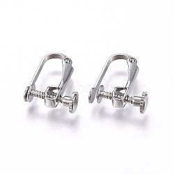 304 Stainless Steel Clip-on Earring Findings, Stainless Steel Color, 15x12.5x5mm(X-STAS-H462-01P)