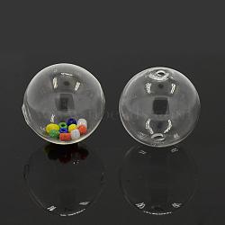 billes de globe en verre soufflé à la main, arrondir, effacer, 50 mm, trou: 5 mm(X-DH017J-50mm-01)