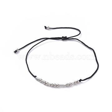 Unisex Adjustable Morse Code Bracelets, Valentines Friendship Bracelets, with Nylon Cord and Platinum Plated Brass Beads, Morse Code Family, Black, 1.3~9cm(BJEW-JB04988-02)
