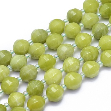 Natural Peridot Beads Strands, Round, Faceted, 9~10mm, Hole: 1.4mm; about 34pcs/Strand, 15.16''(38.5cm)(G-K306-A04-10mm)