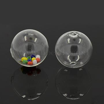 Perles de globe en verre soufflé faites à la main, rond, clair, 50mm, Trou: 5mm(X-DH017J-50mm-01)