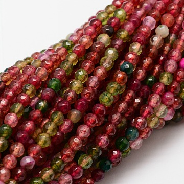 "Faceted Natural Agate Round Beads Strands, Dyed, Colorful, 4mm, Hole: 1mm; about 92pcs/strand, 14.1""(X-G-E318D-4mm-02)"