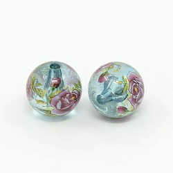 Flower Printed Transparent Acrylic Round Beads, PaleTurquoise, 14mm, Hole: 2mm(TACR-O001-B-04F)