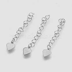 304 Stainless Steel Chain Extender, Heart, Stainless Steel Color, 50~60x3mm, Pendant: 9.5x7.5x1mm(X-STAS-I088-O-01P)