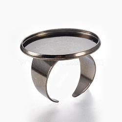 Laiton composants d'anneau de manchette, plat rond, gunmetal, plateau: 25 mm; 18 mm(KK-F762-14B-25mm)