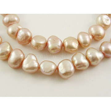 Natural Cultured Freshwater Pearl Beads Strands, Grade B, Oval, Dyed, Two Sides Polished, Incarnadine, about 8-9mm in diameter, hole: 0.8mm, 14 inches/strand, about 54pcs/strand(X-PSB003Y-2)