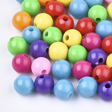 Plastic Beads, Round, Mixed Color, 9.5mm, Hole: 2.5mm(X-KY-Q051-01A-M)