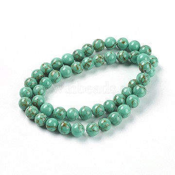 8mm DarkTurquoise Round Synthetic Turquoise Beads