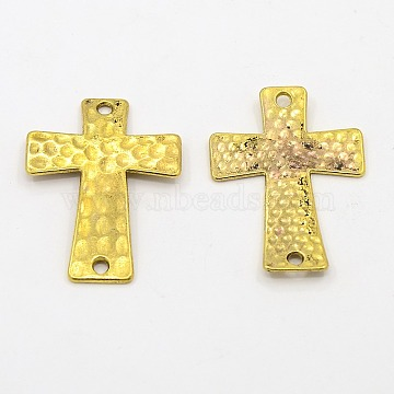 Alloy Links connectors, Cadmium Free & Nickel Free & Lead Free, Hammered Cross, Antique Golden, 38x27.5x3mm, Hole: 2mm(X-PALLOY-AD48697-AG-FF)