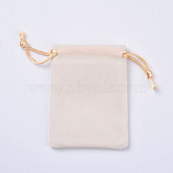 Pochettes d'emballage en velours, sacs à cordonnet, blanc, 12~12.6x10~10.2 cm(TP-I002-10x12-02)