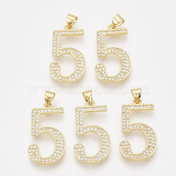 Real Gold Plated Clear Number Brass+Cubic Zirconia Pendants
