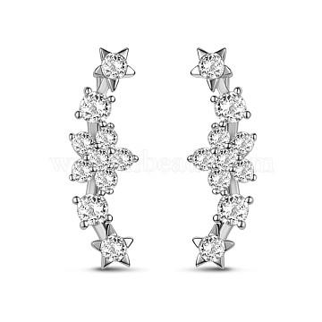 TINYSAND 925 Sterling Silver Flower Star Ear Crawler, with Cubic Zirconia, Silver, 21.6x7.1mm, Pin: 16.16mm(TS-E378-S)