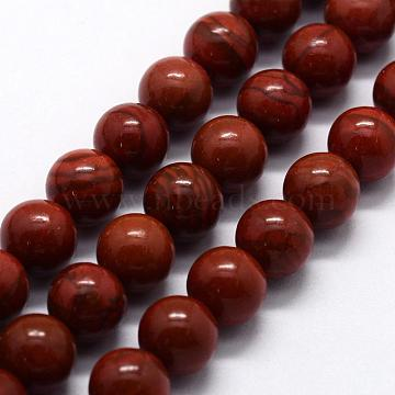 Natural Red Jasper Beads Strands, Round, 6mm, Hole: 0.8mm, about 63pcs/strand,  14.76 inches(37.5cm)(X-G-I199-25-6mm)