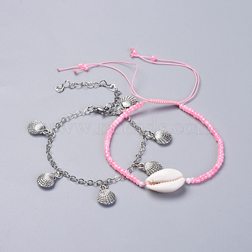 Adjustable Glass Seed Bead & Tibetan Style Zinc Alloy Charm Bracelet Sets, Stackable Bracelets, with Cowrie Shell Beads, Brass Cable Chains, 304 Stainless Steel Extension Chain and Lobster Claw Clasps, Pink, 2-3/8 inches(6cm); 7-1/8 inches(18cm); 2pcs/set(BJEW-JB04282-01)