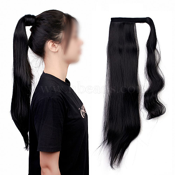 Long Straight Ponytail Hair Extension Magic Paste, Heat Resistant High Temperature Fiber, Wrap Around Ponytail Synthetic Hairpiece, for Women, Black, 21.65 inches(55cm)(OHAR-E010-01A)