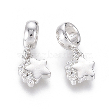 20mm Clear Star Brass+Cubic Zirconia Dangle Beads