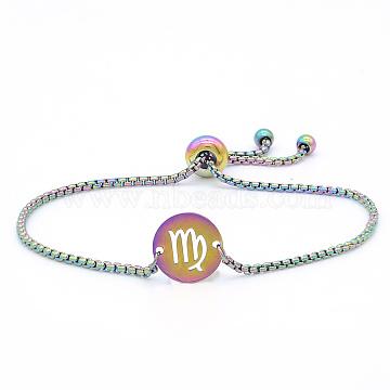 """Bracelets réglables en 201 acier inoxydable, bracelets bolo, avec des chaînes de boîte, plat rond avec constellation / signe du zodiaque, virgo, 9-1/2"""" (24 cm)(STAS-S105-JN664-6)"""