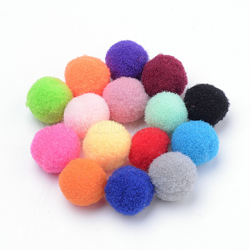 DIY Doll Craft, Polyester Pom Pom Ball, Round, Mixed Color, 14~15mm(AJEW-T001-15mm-M)