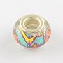 Medium Aquamarine Rondelle Acrylic European Beads(OPDL-Q129-168A)