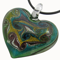 Handmade Silver Foil Glass Pendants, Heart, Green, 47x41mm, Hole: 7mm(X-FOIL-X204-1)