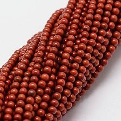 """Chapelets de perles en jaspe rouge naturel, rond, 2mm, trou: 0.5 mm; 190 perle / Chapelet, 15.7""""(X-G-N0221-01-2mm)"""