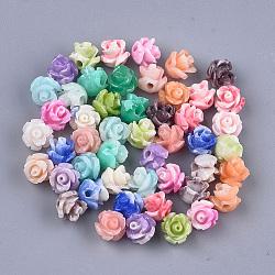 perles de corail synthétiques, teints, fleur, couleur mélangée, 6~7x6~7 mm, trou: 1.2 mm(X-CORA-S027-30)