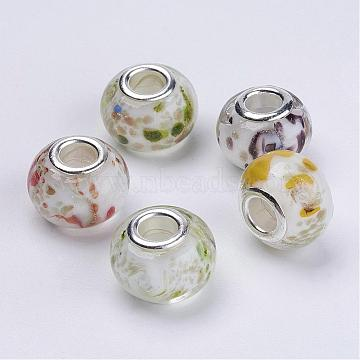 14mm Mixed Color Rondelle Lampwork + Brass Core Beads