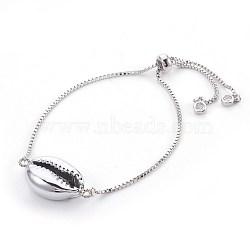 bracelets bolo réglables en laiton, bracelets de slider, avec des perles de coquille galvanisées, cauris, platine, 9 (23 cm), 1.3 mm(X-BJEW-JB03956-01)
