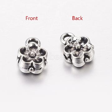 Tibetan Style Flower Hanger Links, Alloy Bail Beads, Cadmium Free & Nickel Free & Lead Free, Antique Silver, 8x6x4mm, Hole: 1mm(X-TIBEP-GC189-AS-NR)