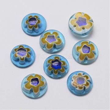 Handmade Millefiori Glass Cabochons, Single Flower Design, Half Round/Dome, Light Blue, 10x3mm(G-F346-03A)